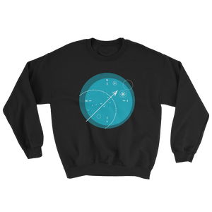 Compass Unisex Crewneck Sweatshirt, Collection Fjaka-Black-S-Tamed Winds-tshirt-shop-and-sailing-blog-www-tamedwinds-com