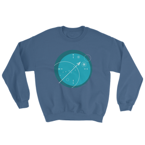 Compass Unisex Crewneck Sweatshirt, Collection Fjaka-Indigo Blue-S-Tamed Winds-tshirt-shop-and-sailing-blog-www-tamedwinds-com