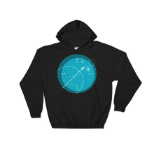 Compass Unisex Hooded Sweatshirt, Collection Fjaka-Black-S-Tamed Winds-tshirt-shop-and-sailing-blog-www-tamedwinds-com