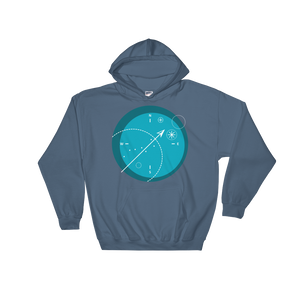 Compass Unisex Hooded Sweatshirt, Collection Fjaka-Indigo Blue-S-Tamed Winds-tshirt-shop-and-sailing-blog-www-tamedwinds-com