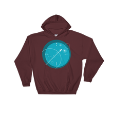 Compass Unisex Hooded Sweatshirt, Collection Fjaka-Maroon-S-Tamed Winds-tshirt-shop-and-sailing-blog-www-tamedwinds-com