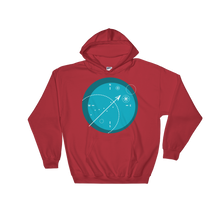 Compass Unisex Hooded Sweatshirt, Collection Fjaka-Red-S-Tamed Winds-tshirt-shop-and-sailing-blog-www-tamedwinds-com