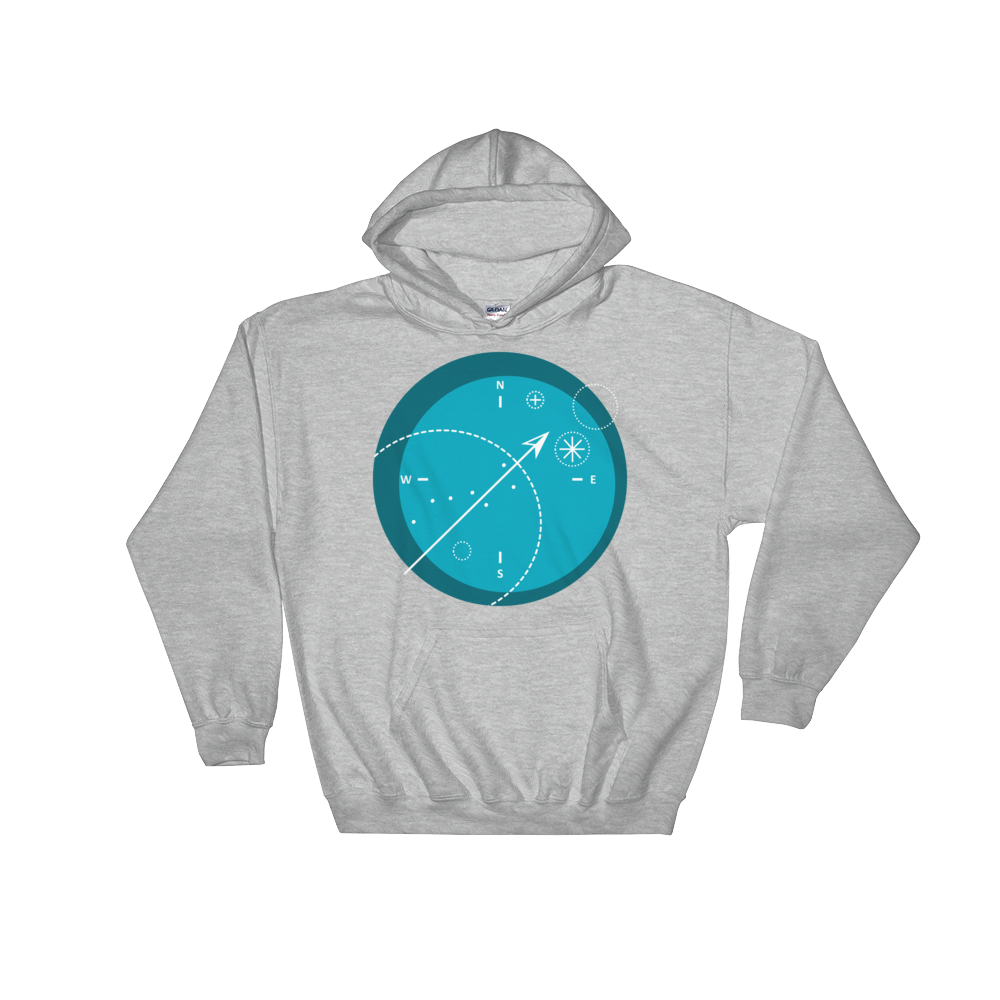 Compass Unisex Hooded Sweatshirt, Collection Fjaka-Sport Grey-S-Tamed Winds-tshirt-shop-and-sailing-blog-www-tamedwinds-com