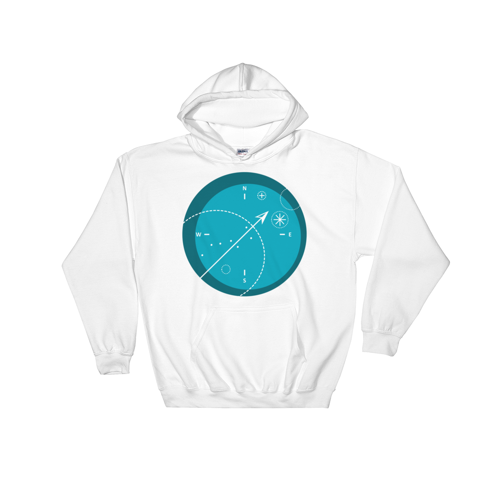 Compass Unisex Hooded Sweatshirt, Collection Fjaka-White-S-Tamed Winds-tshirt-shop-and-sailing-blog-www-tamedwinds-com