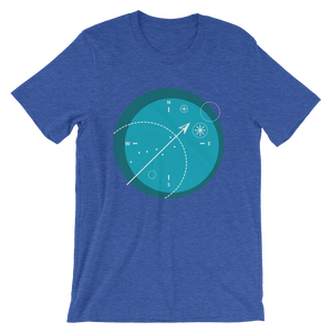 Compass Unisex T-Shirt, Collection Fjaka-Heather True Royal-S-Tamed Winds-tshirt-shop-and-sailing-blog-www-tamedwinds-com