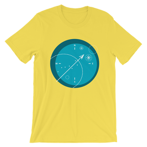 Compass Unisex T-Shirt, Collection Fjaka-Yellow-S-Tamed Winds-tshirt-shop-and-sailing-blog-www-tamedwinds-com