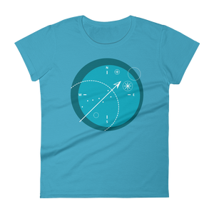 Compass Women's Round Neck T-Shirt, Collection Fjaka-Caribbean Blue-S-Tamed Winds-tshirt-shop-and-sailing-blog-www-tamedwinds-com