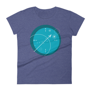 Compass Women's Round Neck T-Shirt, Collection Fjaka-Heather Blue-S-Tamed Winds-tshirt-shop-and-sailing-blog-www-tamedwinds-com