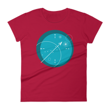 Compass Women's Round Neck T-Shirt, Collection Fjaka-Red-S-Tamed Winds-tshirt-shop-and-sailing-blog-www-tamedwinds-com