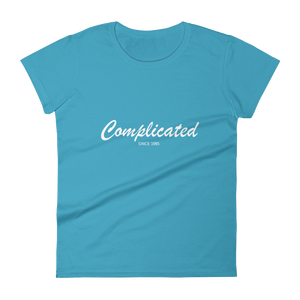 Complicated Women's Round Neck T-Shirt, Collection Nicknames-Caribbean Blue-S-Tamed Winds-tshirt-shop-and-sailing-blog-www-tamedwinds-com