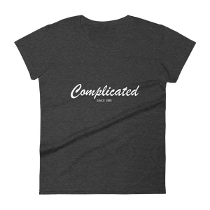 Complicated Women's Round Neck T-Shirt, Collection Nicknames-Heather Dark Grey-S-Tamed Winds-tshirt-shop-and-sailing-blog-www-tamedwinds-com