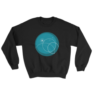 Deep Blue Unisex Crewneck Sweatshirt, Collection Fjaka-Black-S-Tamed Winds-tshirt-shop-and-sailing-blog-www-tamedwinds-com