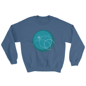 Deep Blue Unisex Crewneck Sweatshirt, Collection Fjaka-Indigo Blue-S-Tamed Winds-tshirt-shop-and-sailing-blog-www-tamedwinds-com
