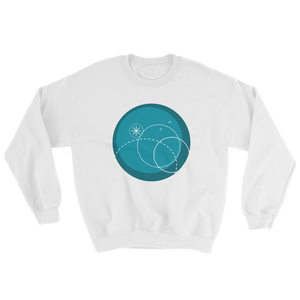 Deep Blue Unisex Crewneck Sweatshirt, Collection Fjaka-White-S-Tamed Winds-tshirt-shop-and-sailing-blog-www-tamedwinds-com