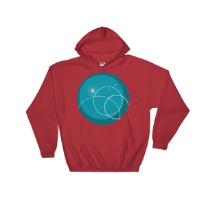 Deep Blue Unisex Hooded Sweatshirt, Collection Fjaka-Red-S-Tamed Winds-tshirt-shop-and-sailing-blog-www-tamedwinds-com