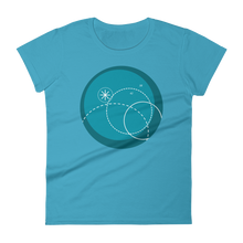 Deep Blue Women's Round Neck T-Shirt, Collection Fjaka-Caribbean Blue-S-Tamed Winds-tshirt-shop-and-sailing-blog-www-tamedwinds-com