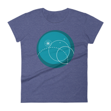 Deep Blue Women's Round Neck T-Shirt, Collection Fjaka-Heather Blue-S-Tamed Winds-tshirt-shop-and-sailing-blog-www-tamedwinds-com