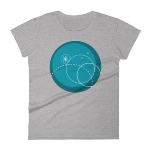 Deep Blue Women's Round Neck T-Shirt, Collection Fjaka-Heather Grey-S-Tamed Winds-tshirt-shop-and-sailing-blog-www-tamedwinds-com