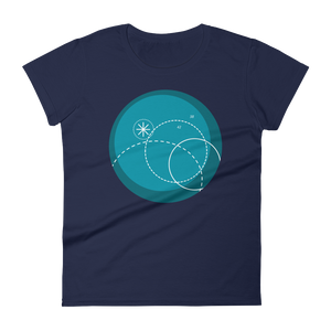 Deep Blue Women's Round Neck T-Shirt, Collection Fjaka-Navy-S-Tamed Winds-tshirt-shop-and-sailing-blog-www-tamedwinds-com