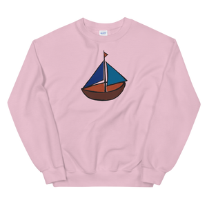 Dinghy Unisex Crewneck Sweatshirt, Collection Ships & Boats-Light Pink-S-Tamed Winds-tshirt-shop-and-sailing-blog-www-tamedwinds-com
