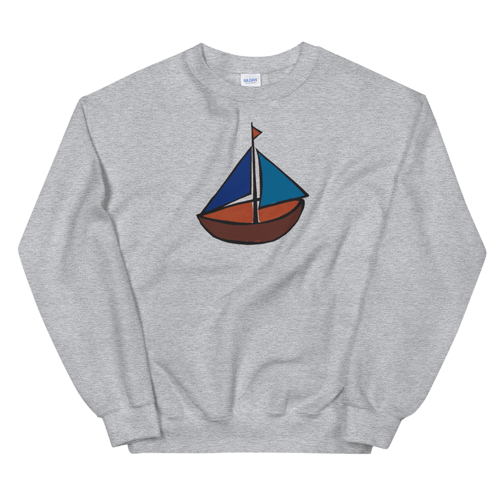 Dinghy Unisex Crewneck Sweatshirt, Collection Ships & Boats-Sport Grey-S-Tamed Winds-tshirt-shop-and-sailing-blog-www-tamedwinds-com