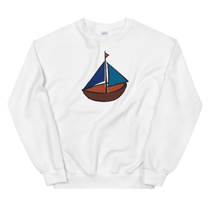Dinghy Unisex Crewneck Sweatshirt, Collection Ships & Boats-White-S-Tamed Winds-tshirt-shop-and-sailing-blog-www-tamedwinds-com