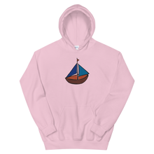 Dinghy Unisex Hooded Sweatshirt, Collection Ships & Boats-Light Pink-S-Tamed Winds-tshirt-shop-and-sailing-blog-www-tamedwinds-com