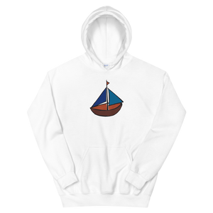 Dinghy Unisex Hooded Sweatshirt, Collection Ships & Boats-White-S-Tamed Winds-tshirt-shop-and-sailing-blog-www-tamedwinds-com