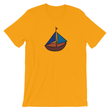 Dinghy Unisex T-Shirt, Collection Ships & Boats-Gold-S-Tamed Winds-tshirt-shop-and-sailing-blog-www-tamedwinds-com