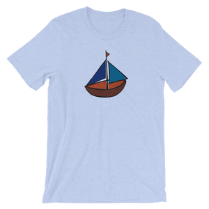 Dinghy Unisex T-Shirt, Collection Ships & Boats-Heather Blue-S-Tamed Winds-tshirt-shop-and-sailing-blog-www-tamedwinds-com
