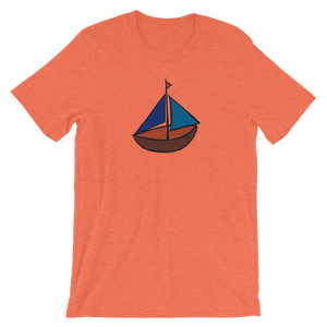 Dinghy Unisex T-Shirt, Collection Ships & Boats-Heather Orange-S-Tamed Winds-tshirt-shop-and-sailing-blog-www-tamedwinds-com