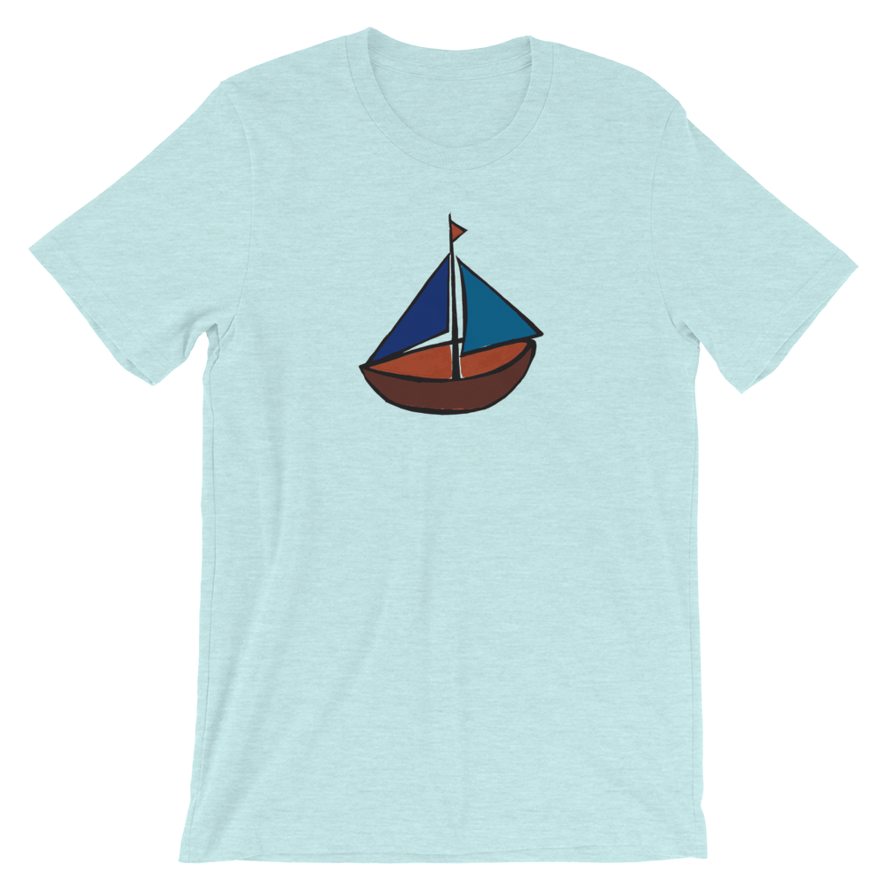 Dinghy Unisex T-Shirt, Collection Ships & Boats-Heather Prism Ice Blue-XS-Tamed Winds-tshirt-shop-and-sailing-blog-www-tamedwinds-com