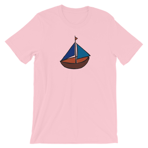 Dinghy Unisex T-Shirt, Collection Ships & Boats-Pink-S-Tamed Winds-tshirt-shop-and-sailing-blog-www-tamedwinds-com