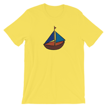 Dinghy Unisex T-Shirt, Collection Ships & Boats-Yellow-S-Tamed Winds-tshirt-shop-and-sailing-blog-www-tamedwinds-com