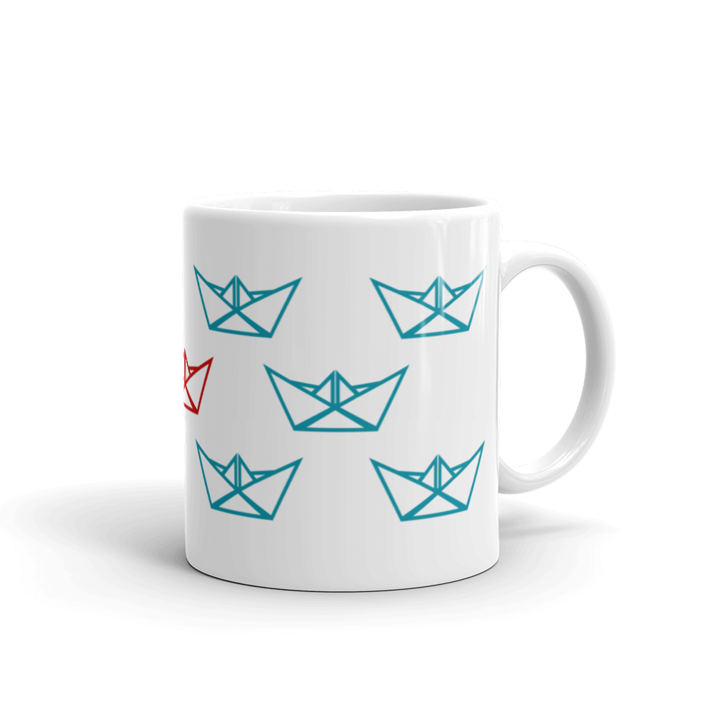 Eleven Paper Boats Mug 325 ml, Collection Origami Boat-Tamed Winds-tshirt-shop-and-sailing-blog-www-tamedwinds-com