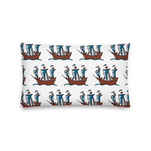 Explorer's Caravele Flagship Decorative Pillow, Collection Ships & Boats-Tamed Winds-tshirt-shop-and-sailing-blog-www-tamedwinds-com