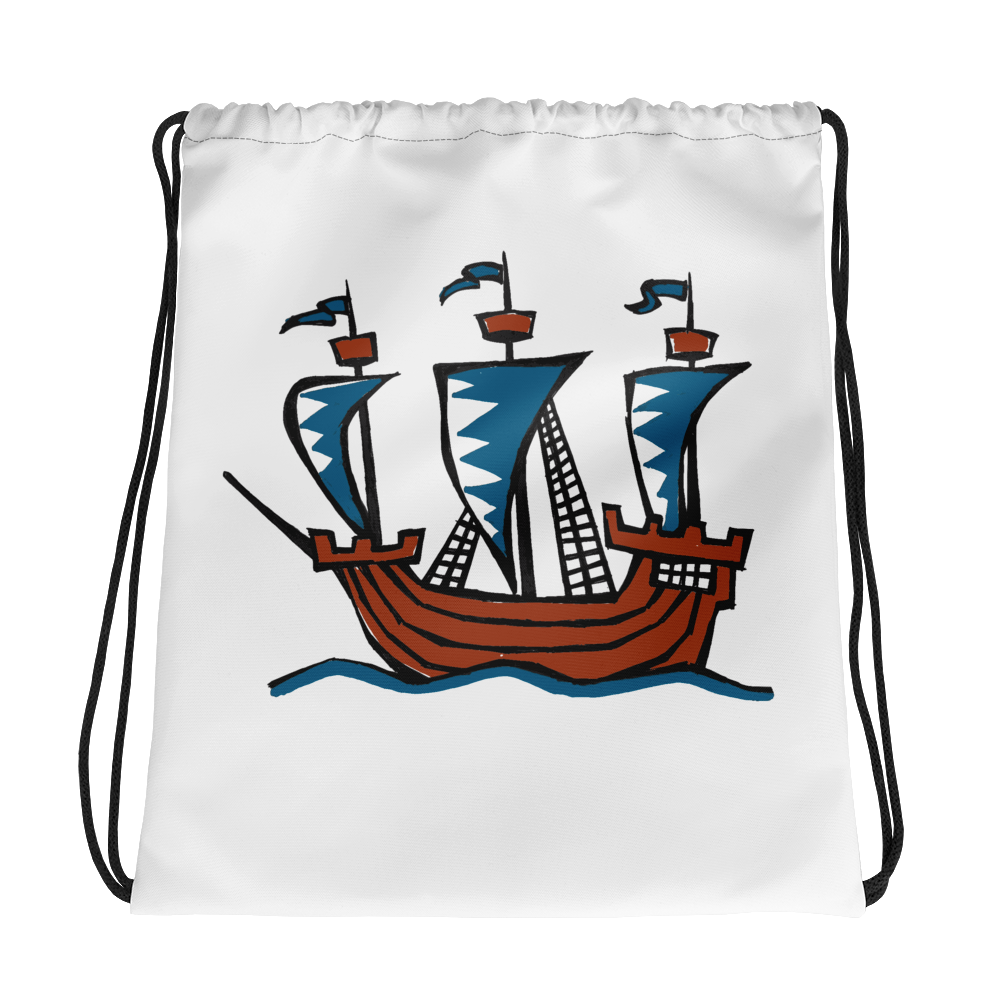 Explorer's Caravele Flagship Drawstring Bag, Collection Ships & Boats-Tamed Winds-tshirt-shop-and-sailing-blog-www-tamedwinds-com