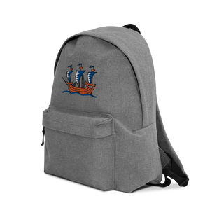 Explorer's Caravele Flagship Embroidered Backpack, Collection Ships & Boats-Tamed Winds-tshirt-shop-and-sailing-blog-www-tamedwinds-com