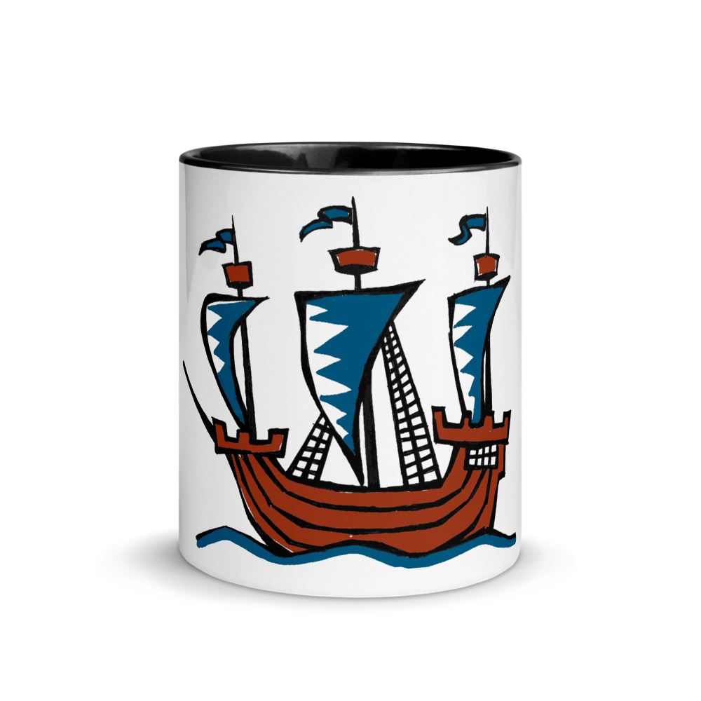 Explorer's Caravele Flagship Mug With Black Color Inside 325 ml, Collection Ships & Boats-Tamed Winds-tshirt-shop-and-sailing-blog-www-tamedwinds-com