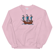 Explorer's Caravele Flagship Unisex Crewneck Sweatshirt, Collection Ships & Boats-Light Pink-S-Tamed Winds-tshirt-shop-and-sailing-blog-www-tamedwinds-com