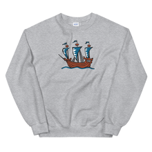 Explorer's Caravele Flagship Unisex Crewneck Sweatshirt, Collection Ships & Boats-Sport Grey-S-Tamed Winds-tshirt-shop-and-sailing-blog-www-tamedwinds-com