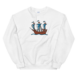 Explorer's Caravele Flagship Unisex Crewneck Sweatshirt, Collection Ships & Boats-White-S-Tamed Winds-tshirt-shop-and-sailing-blog-www-tamedwinds-com