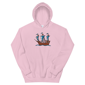 Explorer's Caravele Flagship Unisex Hooded Sweatshirt, Collection Ships & Boats-Light Pink-S-Tamed Winds-tshirt-shop-and-sailing-blog-www-tamedwinds-com