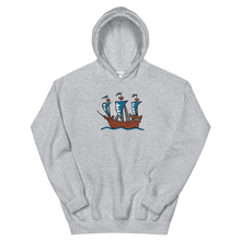 Explorer's Caravele Flagship Unisex Hooded Sweatshirt, Collection Ships & Boats-Sport Grey-S-Tamed Winds-tshirt-shop-and-sailing-blog-www-tamedwinds-com