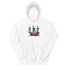 Explorer's Caravele Flagship Unisex Hooded Sweatshirt, Collection Ships & Boats-White-S-Tamed Winds-tshirt-shop-and-sailing-blog-www-tamedwinds-com