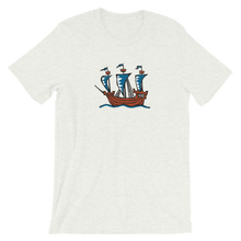 Explorer's Caravele Flagship Unisex T-Shirt, Collection Ships & Boats-Ash-S-Tamed Winds-tshirt-shop-and-sailing-blog-www-tamedwinds-com