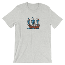 Explorer's Caravele Flagship Unisex T-Shirt, Collection Ships & Boats-Athletic Heather-S-Tamed Winds-tshirt-shop-and-sailing-blog-www-tamedwinds-com