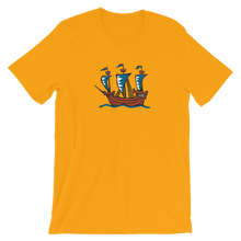 Explorer's Caravele Flagship Unisex T-Shirt, Collection Ships & Boats-Gold-S-Tamed Winds-tshirt-shop-and-sailing-blog-www-tamedwinds-com