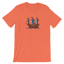Explorer's Caravele Flagship Unisex T-Shirt, Collection Ships & Boats-Heather Orange-S-Tamed Winds-tshirt-shop-and-sailing-blog-www-tamedwinds-com
