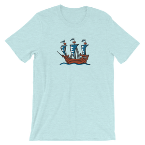 Explorer's Caravele Flagship Unisex T-Shirt, Collection Ships & Boats-Heather Prism Ice Blue-XS-Tamed Winds-tshirt-shop-and-sailing-blog-www-tamedwinds-com